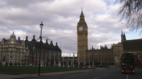 Pan Of The Palace Of Westminster In London stock footage