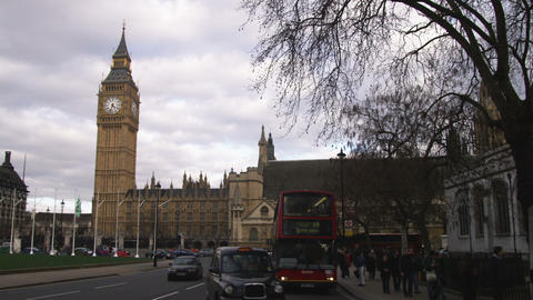 Traffic Passing By Palace Of Westminster In London stock footage