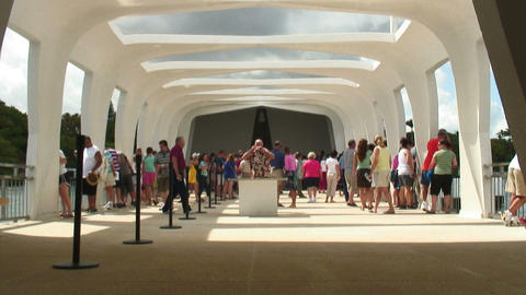 Tourists at the Pearl Harbor Memorial in Hawaii Footage