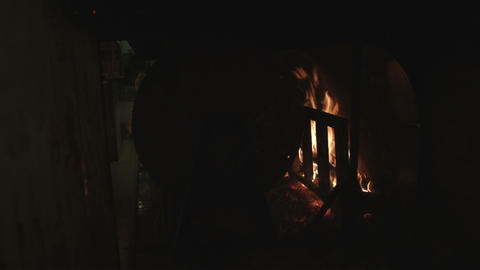 Flames In A Dark Kitchen In Bologna Italy stock footage