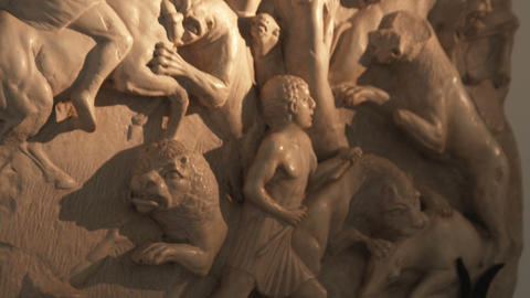 Panning Down Marble Sculptures In A Home In Italy stock footage