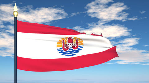 Flag Of French Polynesia stock footage