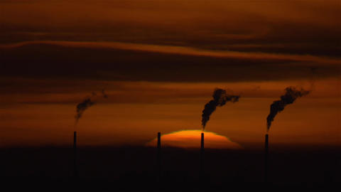 Big Sun Sunset With Factory Smoke Pollution stock footage