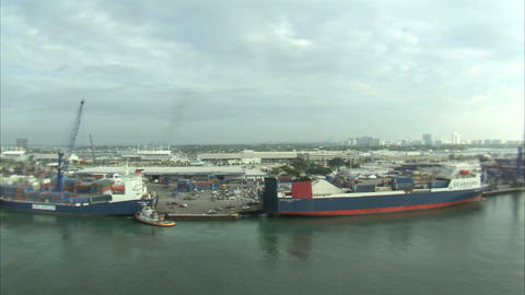 Aerial Shot Of A Shipping Yard In Miami stock footage