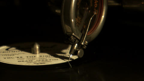 Close Up Of A Record Needle Coming To An End stock footage