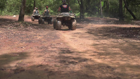 ATV Riding In The Forest stock footage