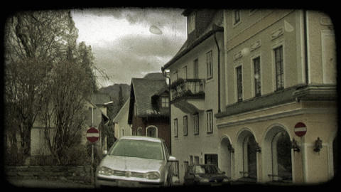Car On European Street. Vintage Stylized Video Clip stock footage