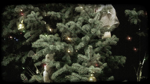 Decorated Christmas Tree. Vintage Stylized Video Clip stock footage