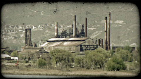 Energy Plant Near Mountains. Vintage Stylized Video Clip stock footage