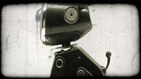Shot Of A Robotic Dog. Vintage Stylized Video Clip stock footage