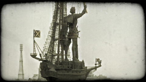 Statue In Moscow. Vintage Stylized Video Clip stock footage