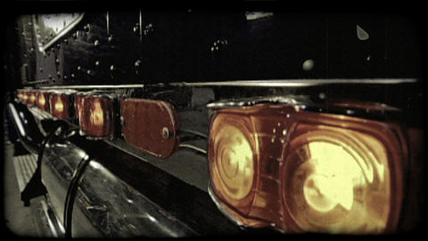 Row of truck lights. Vintage stylized video clip Footage
