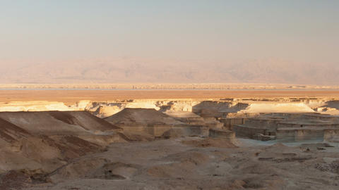 Panoramic Shot Of Shadows Moving Across Desert Landscape. Cropped stock footage