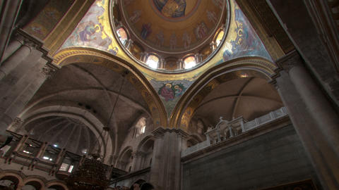 Panning Shot Of Low-angle Time Lapse Of Room In Church Of The Holy Sepulchre stock footage