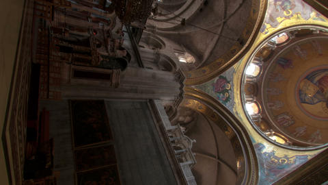 Vertical Shot Of Low-angle Time Lapse Of Room In Church Of The Holy Sepulchre stock footage