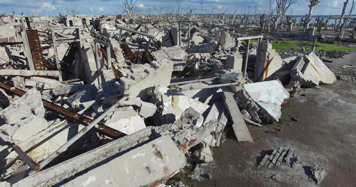 Drone Scene, Destroyed City, Catastrophe. Flying Close To Concrete Seat. Rises T stock footage
