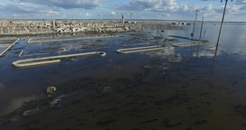 Aerial Drone Scene Of Flooded Destroyed City. Epecuen. Natural Disaster. Detail stock footage