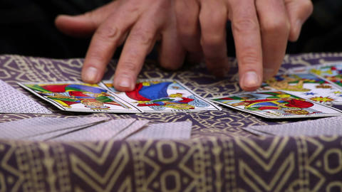 Fortune Teller Using Tarot Cards stock footage
