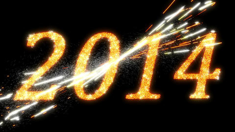 2014: Fireworks And Sparkling Symbols Of New Year. Alpha Is Included stock footage