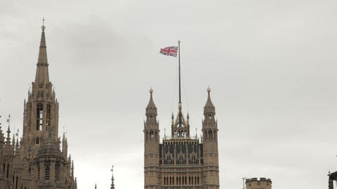 Union Jack Flying Above Westminster Palace stock footage