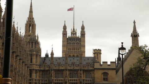 Westminster Palace With The Union Jack Above stock footage