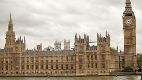 Distant View Of Westminster Palace And Big Ben In London, England stock footage