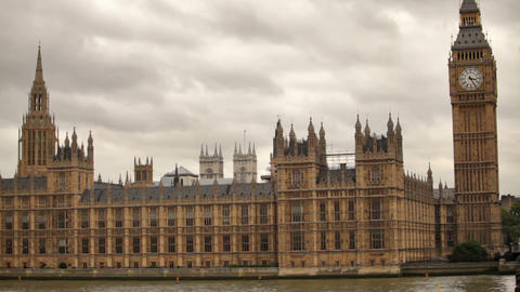 White Storm Clouds Behind Westminster Palace In London, England stock footage