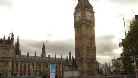 Big Ben And Westminster Palace With Cloudy Sky Background In London, England stock footage