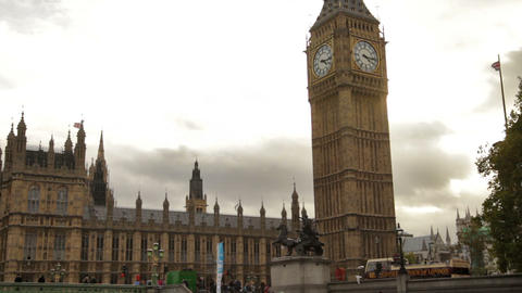 Big Ben And Westminster Palace With Cloudy Sky In Background In London, England stock footage