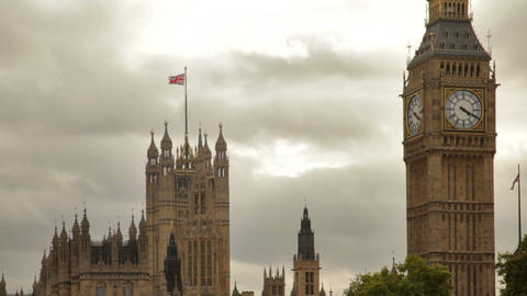 Tight Shot Of Big Ben And Westminster Palace With Storm Clouds In Background In  stock footage