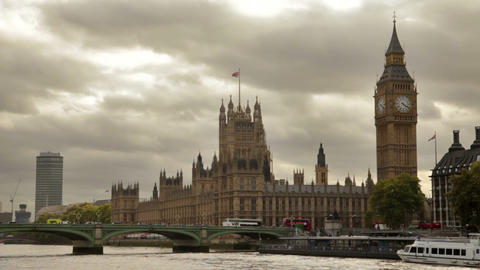Distant View Of Westminster Palace, Big Ben, And Westminster Bridge, Located In  stock footage