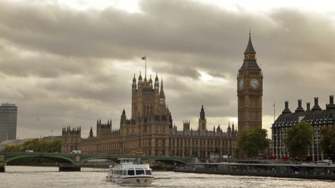 Dark Storm Clouds Behind Big Ben And Westminster Palace, Thames River, Flying Bi stock footage
