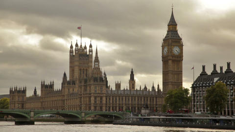 Big Ben And Westminster Palace, Birds Fly Over Water In Foreground, Located In L stock footage