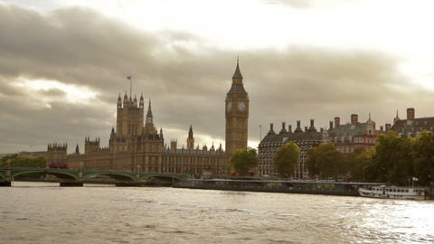 Big Ben And Westminster Palace With Storm Clouds In Background In London, Englan stock footage