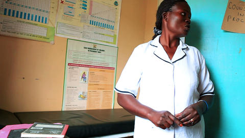 KENYA-C.2012 A Doctor Gives A Tour Of A Medical Clinic's Examination Room In Ken stock footage