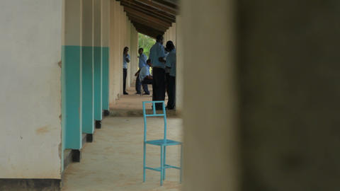 Socializing In A School Hallway In Kenya stock footage