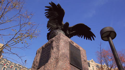 A Tilt Shot Of A Historic Statue Of An Eagle In The Daytime In Washington DC stock footage