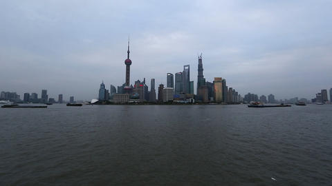 View Overlooking The Huangpu River Toward Many Towers In Shanghai, China stock footage
