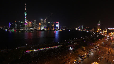 Wide View Overlooking The Huangpu River Toward Many Towers In Shanghai, China stock footage