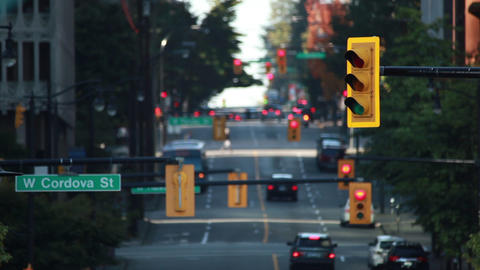 Static Shot Of Traffic Lights On Cordova Street In Vancouver stock footage