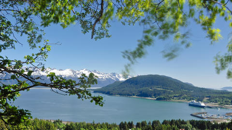Time-lapse Overlooking The Haines, AK Port From A Mountainside stock footage
