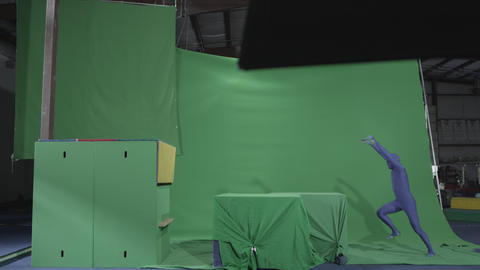 Preformer Does Parkour Moves On Chroma Key Objects stock footage
