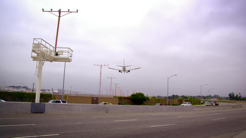 Low-angle Shot Of Airplane Arriving At LAX stock footage