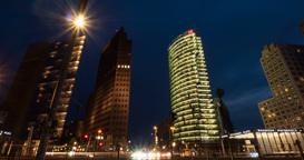4K, Time Lapse, Potsdamer Platz At Night, Berlin stock footage