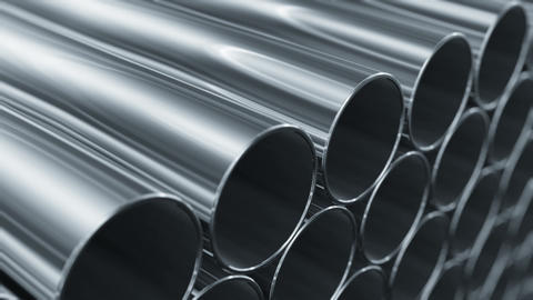 Looped 3d Animation Of Metallic Pipes. Camera Moving Near Rows Of Tubes. Constru stock footage