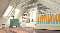 Dolly Shot Of 3d Rendered Attic Bright Baby Room Decorated With Warm Colors stock footage