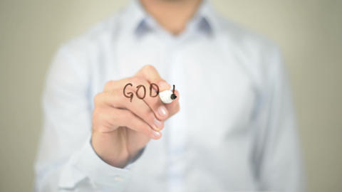 God Is Not Dead , Man Writing On Transparent Screen stock footage