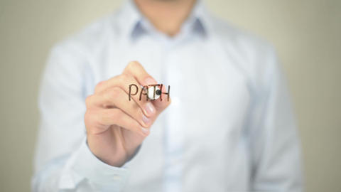 Path To Success , Man Writing On Transparent Screen stock footage