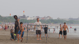 Playing Football On The Beach,Kuta,Indonesia stock footage