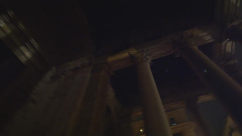 Rotating, Low Angle Footage Of Pantheon Columns stock footage